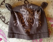 Newborn Brown Lotus Upcycled Tshirt Baby Girl Skully Cap
