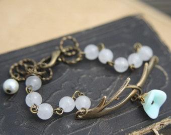 Tree Branch Cuff Bracelet, Aqua Glass Flower Charm, Tree Limb Cuff Bracelet, Woodland Jewelry, Charm Bracelet, Brass