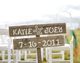 Beach Wedding Sign Decorations STARFISH Hand Painted Reclaimed Wood. Rustic Weddings. Vintage Weddings. Road Signs. Romantic Ocean Reception