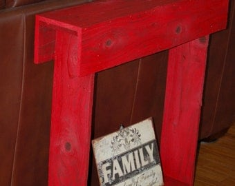 Fall Red Entryway Table, Console Table, Entry Table. Skinny Wall Table.  Rustic