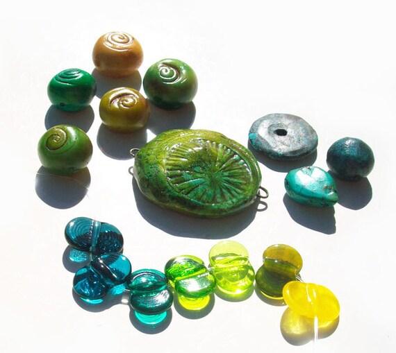 Citrus Sea Starburst Swirls-handmade lampwork glass and polymer clay limited edition collaboration bead set