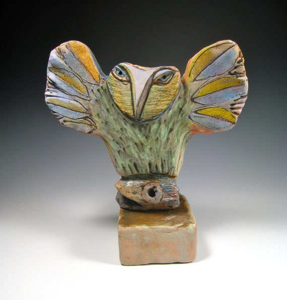 Owl art, sculpture, Owl Person Taking Flight into the Beauty of the Moment