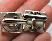 Custom Map Engraved Sterling Silver Square Cufflinks. You Select the Journey.