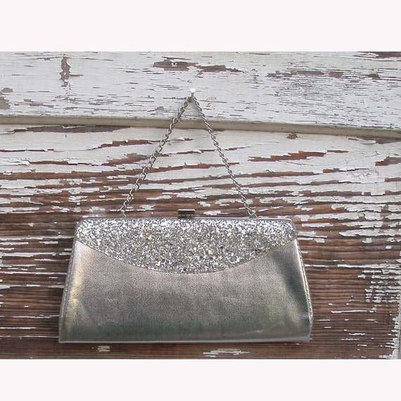 60s Vintage Mod Silver Glam Clutch purse handbag with chain handle and sparkly front