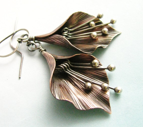 Mixed Metal Lily Flower Earrings Argentium Sterling Silver And Copper Earring Handcrafted Artisan Earrings Metalsmith Earring Copper Jewelry