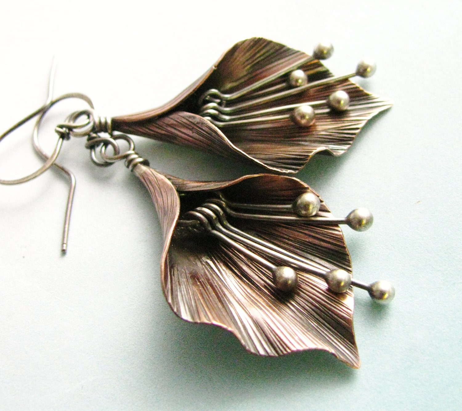 mixed metal flower earrings argentium sterling silver and