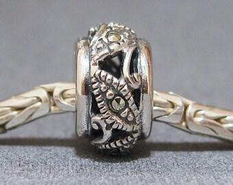 Sterling Silver Slider No. 3 Spacer European Charm sterling Silver Big Hole Bracelet Bead