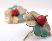 Brass jewelry, Vintage earrings, hand-aged metal flower and red coral. 18k gold plated sterling silver hook.