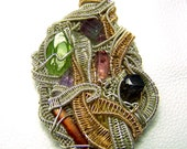 Wire wrap necklace pendant - Tanzanite Tourmaline Amethyst Orange Kyanite STerling Silver Gold Rubellite Watermelon Crystal gem