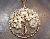 Opal Tree of Life pendant.- Ethiopian Opal - Welo Opal - Wello Opal - necklace pendant -  Gold Fill - opal pendant - opal necklace