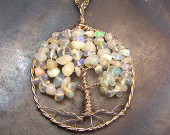 Opal Tree of Life pendant.- Ethiopian Opal - Welo Opal - Wello Opal - necklace pendant -  Gold Fill - opal pendant - opal necklace