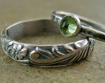 Sterling Silver Peridot Ring Engagement Wedding Band Set Flower Leaf Woodland Botanical Band Oxidized Rustic