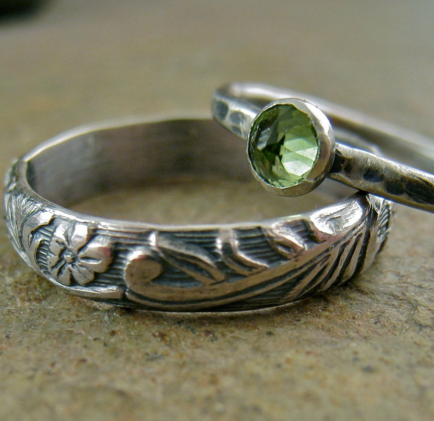 Sterling silver peridot ring engagement wedding band set for Peridot wedding ring set