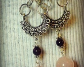 Rose Quartz Gemstone Earrings with garnet accent