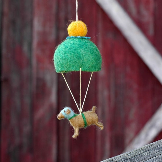 Parachuting Dog in Green - Needle Felted Whimsy