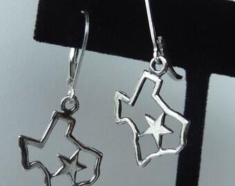 Lone Star Sterling Silver Earrings, Texas Earrings, Map Earrings,  Texas Lone Star Earrings
