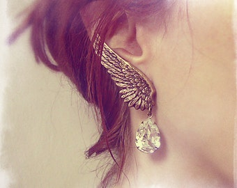 Clip On Dangle Earrings Clip On Earrings winged earrings BRASS Bridal Crystal Wing Earrings