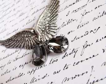 20%OFF Gothic Wing Earrings SILVER NIGHT Grey Swarovski Drop Clip On Earrings Angel Wings Earrings Gothic Jewelry Grey Crystal