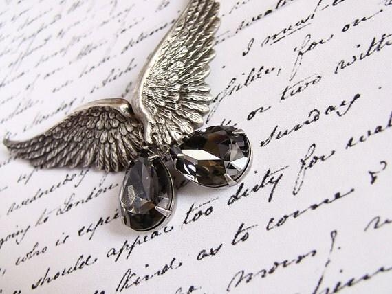 Gray Wing Earrings SILVER NIGHT Grey Swarovski Drop Clip On Earrings Angel Wings Earrings Gothic Jewelry Grey Crystal