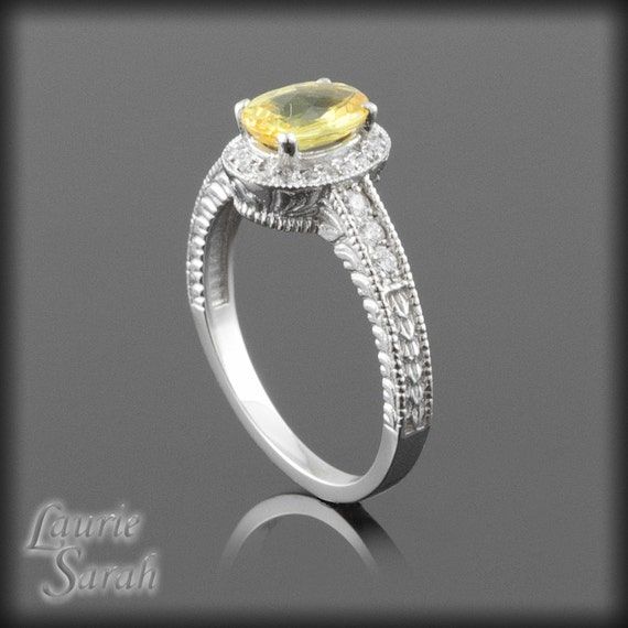 Canary Yellow Sapphire and Diamond Engagement Ring - LS907