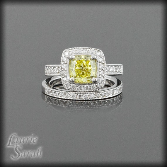 Cushion Cut Engagement Ring, Canary Diamond Engagement Ring and Wedding Band Set - LS2196