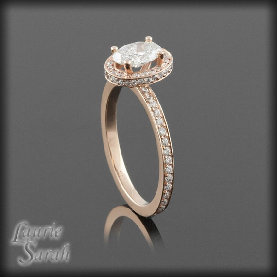 Rose Gold Engagement Ring with Diamond Eternity Band and side diamond halo - LS1003