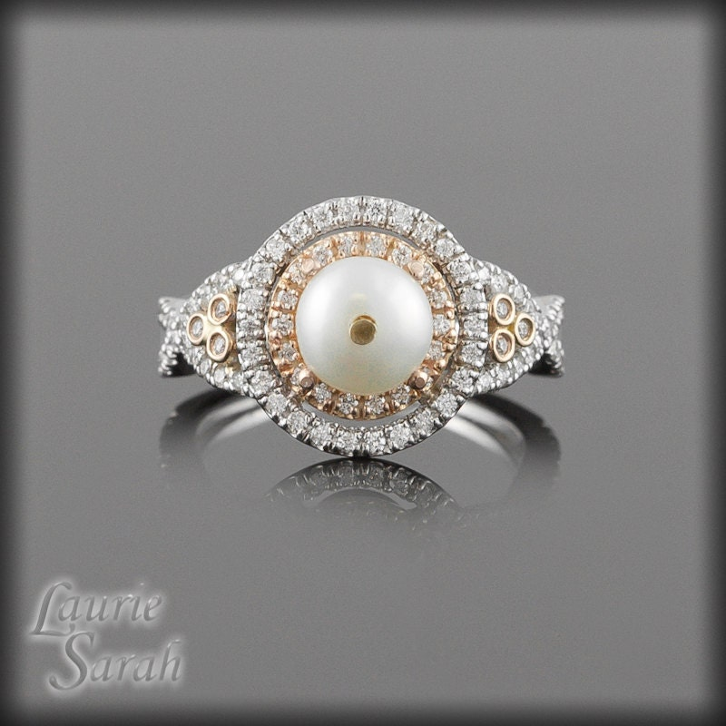 Halo Engagement Ring Pearl And Diamond Ring In Two Tone 14kt