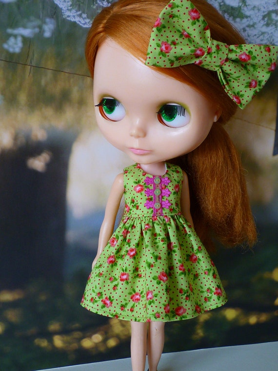 SALE  2 Piece for Blythe Babydoll Dress and Bow