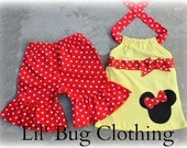 Custom Boutqiue Minnie Mouse Yellow Red Ribbon Short and Halter  Set