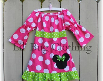 Custom Boutique Girl Minnie Mouse Pink and Lime  Fall Girls Peasant Dress