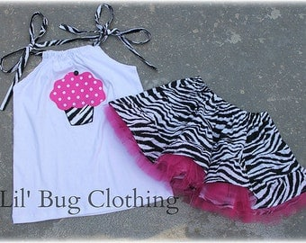Custom Boutique Zebra Cupcake Tulle Birthday Tiered  Skirt and Top