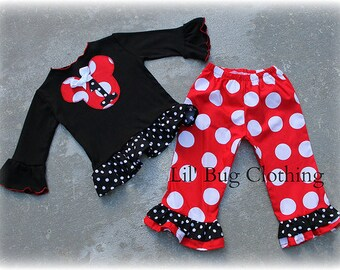 Custom Boutique Clothing Minnie Mouse Red Jumbo Dot and Black Polka Dot Pant and Tee