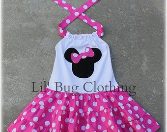 Custom Boutique Clothing Hot Pink and White Dot Minnie Mouse Tiered Halter Dress
