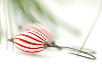 Red and White Earrings, Christmas Jewelry, Dangle Earrings, Peppermint, Lucite Jewelry, Candy Cane, Sterling Silver - Peppermint Stick