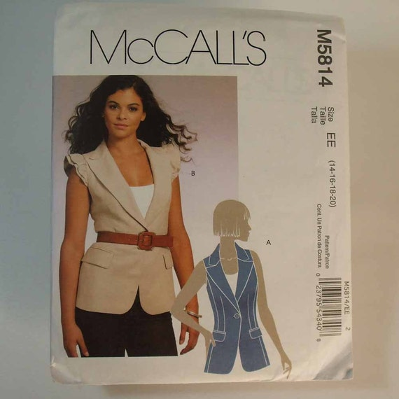 Uncut McCall's M5814 Lined Jacket Pattern Size EE 14-20