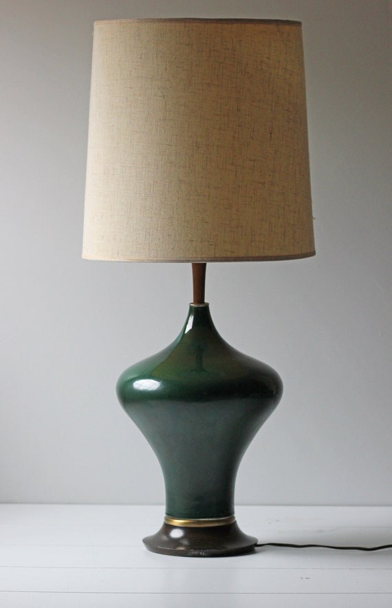 Dark Green Ceramic Table Lamp By Modishvintage On Etsy