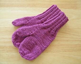 Child Medium Mittens Wool Hand Knit Raspberry Heather
