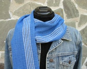 Hand Woven Scarf, Tencel and Bamboo, Sapphire Blue and Cream Stripe HandWoven