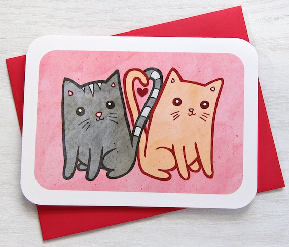 Valentines Day Card Kitty Cats in love