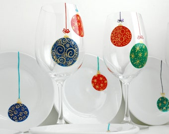 Christmas Ornaments Wine Glasses - Hand Painted Christmas Ornament 2 Piece Collection