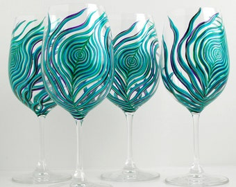 Peacock Feather Wine Glasses with Silver or Gold Accents - Set of 4 Hand Painted Peacock Glasses