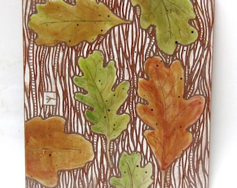 autumn leaves hand carved ceramic art tile
