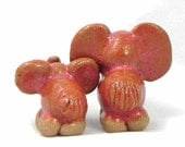 Mother and Child Set Miniature Ceramic Pink Elephants with White Sculpture Stoneware Cake Topper