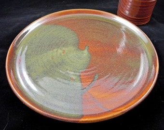 Plate Dinner One Hazel Brown and Green Ceramic Stoneware Pottery Dinnerware Set Available