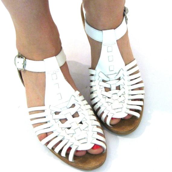 vintage White Leather Huarache Sandals / Gladiator Sandals / Size 9.5-10
