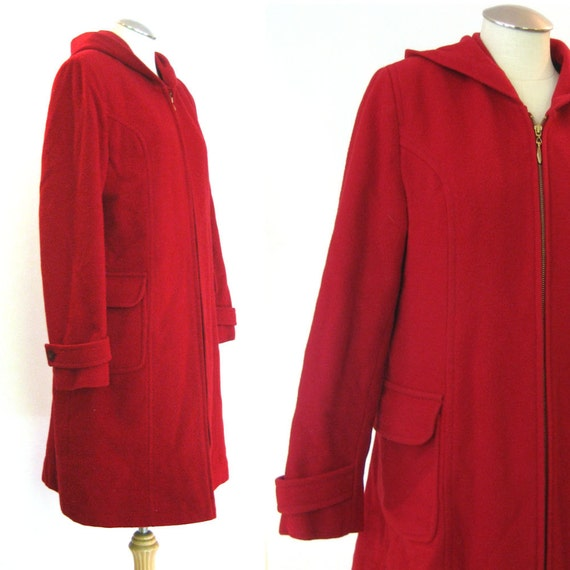 vintage Cherry Red Wool Cashmere Coat / Duffle Coat / Wool Cashmere Winter Coat with Hood