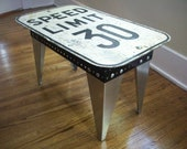 Speed Limit Sign. Coffee Table. Modern Industrial. Vintage sign. Handmade skirt/legs.