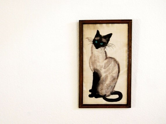 vintage CAT painting  / 1970s canvas art FRAMED wall hanging