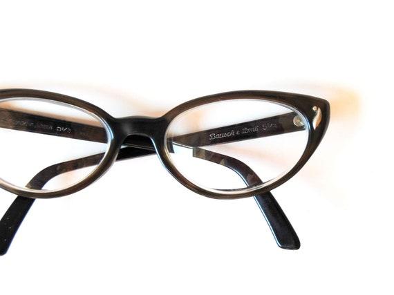 vintage CAT EYE glasses / 1960s OLIVE green frame eye glasses