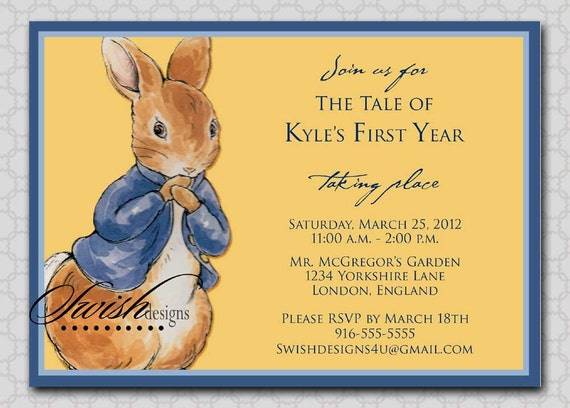 Peter Rabbit Birthday invitation - First Birthday Party Invitation - Digital Invite